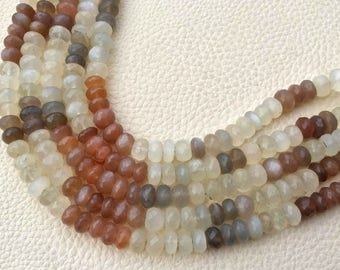 7.5 Inch Strand, Superb-Natural MULTI MOONSTONE Faceted Rondells, 8-7.5mm Long,Great Quality at Wholesale Price .