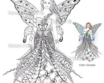 Fay Goddess - Fairy Tangles Printable Coloring Sheets Adult Digi Coloring Book Pages 8x10 Beautiful Fairies Coloring Pages for Adults & Kids