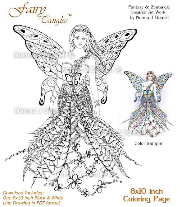 Fay Goddess Fairy Tangles Printable