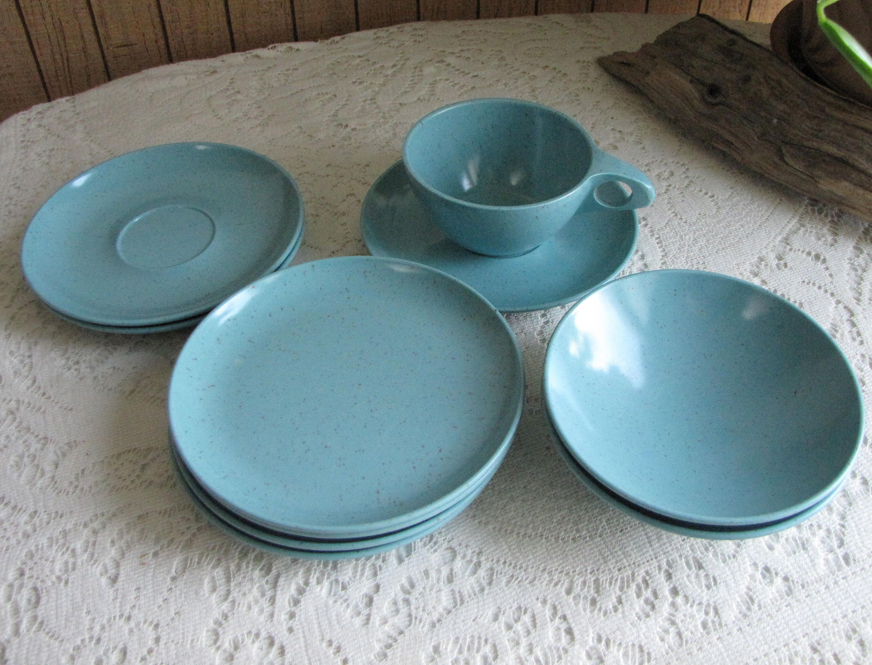 Kenro Turquoise Vintage Dinnerware and Replacements Melamine Dishes 10 Pieces & Kenro Turquoise Vintage Dinnerware and Replacements Melamine Dishes ...