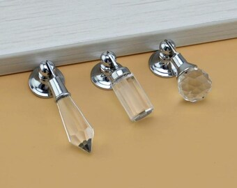 Crystal Glass Knobs / Dresser Knob Clear Drop Pull / Drawer Knobs Pulls Handles / Cabinet Knob Furniture Pull Handle Hardware Silver