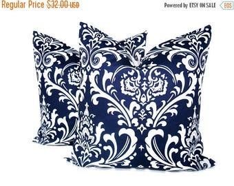 15% Off Sale Pillows - Decorative Pillow - 18x18 Pillow Covers - Navy Pillow - Blue Pillow cover - Blue pillows - Damask Pillow - Throw pill