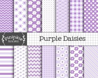 Purple Digital Paper, Purple Chevrons, Purple Polka Dots, Purple Diagonal Stripes, Lilac Scrapbooking Paper, Daisy Paper, Commercial Use