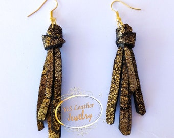 Black-Gold leather earrings - leather jewelry - gold is bold