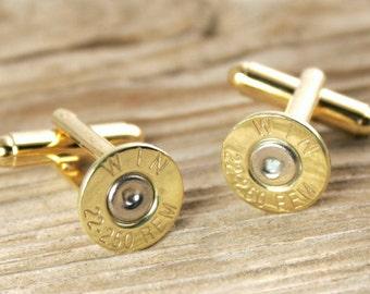 Bullet Cufflinks, Winchester 22-250 Brass Bullet Cufflinks, Wedding Cufflinks, 22-250 Cufflinks, 22-250 Cuff Links, Bullet Cuff Links