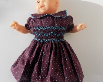 Smocked dress with polka dots, cotton dress, turquoise blue, hand smocked, embroidered doll, Camille, Corolla, 30 cm, 36 cm, 42 cm / 52 cm/smocked dress