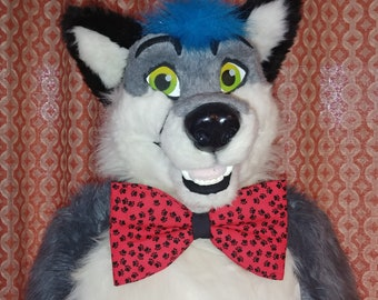 Red Paw Prints Mascot Bow Tie