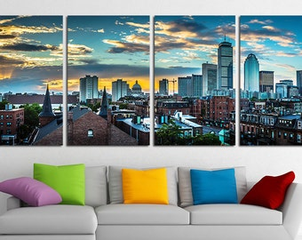 Large Boston City Canvas Wall Art Set Boston Canvas Art Boston Print Boston  Wall Decor Boston