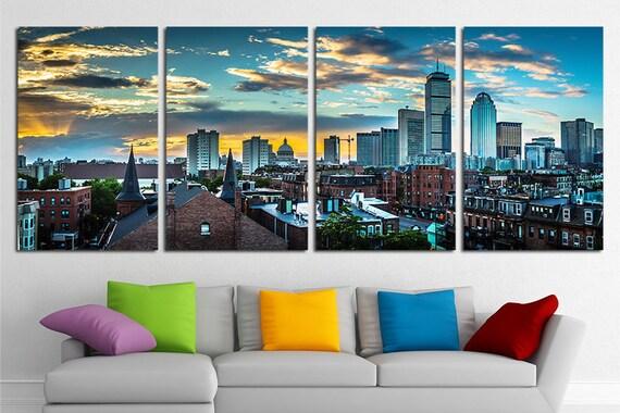 Lovely Large Boston City Canvas Wall Art Set Boston Canvas Art Boston