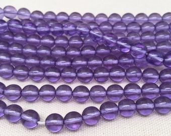 25 Translucent Purple Czech Round Glass Beads 8mm