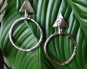 Vintage silver high fashion triangle hoop earrings