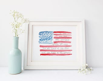 4th of July Printable, National Anthem, Watercolor Flag, Patriotic Decor, Independence Day, Memorial Day, Patriotic Printable