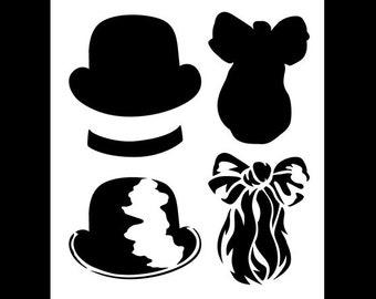 "Dapper Gentleman Stencil - Bowler Hat & Ascot - Art Stencil -  11"" x 12"" - STCL1158_1 - by StudioR12"