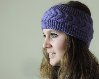Lavender Knit Headband, Cable Knit Headband, Ear Warmer, Winter Hairband, Lavender Knitted Headband, Chunky Headband