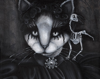Memento Mori Cat Art, Victorian Dressed Cat Black and White, Raven Skeleton 5x7 Fine Art Print