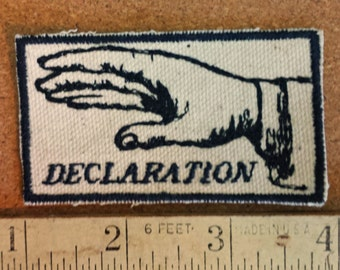 Hand Gesture Embroidered Upcycled Canvas Vintage Graphic Gestures Declaration Iron On Jacket Patch