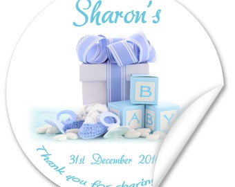 Personalised Baby Shower Stickers / Seals, Full Colour Gloss 45mm, Boy or Girl V3