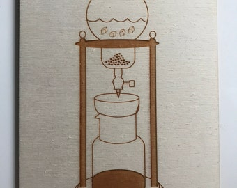 Cold Brew Coffee Tower Wooden Postcard Laser Cut
