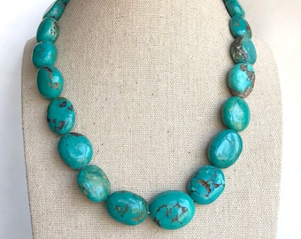 "Peyote Bird Southwestern Natural Turquoise Beaded Sterling Necklace 16-18"", Turquoise Necklace, Peyote Bird Necklace, Turquoise Beads"