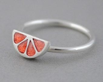 Tiny grapefruit ring, sterling silver grapefruit ring, orange ring, minimal ring, Enamel jewelry, Small ring, midi ring, Fruit jewelry