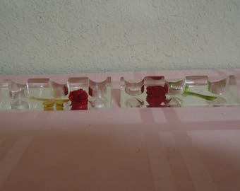 Two Vintage Lucite Lipstick Holders! Red Roses! Mint Condition.