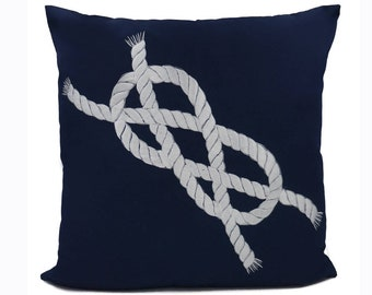 "New Fabric - Infinity Rope - Nautical Embroidered Pillow Cover - Fits 18""x18"" Insert - Navy - Beach / Lake / Nursery Decor (READY TO SHIP)"