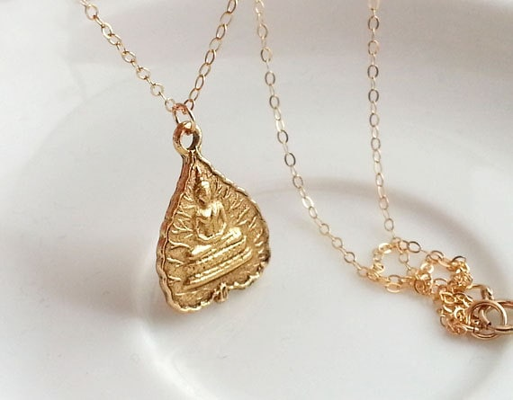 Buddha lotus leaf necklace gold buddha necklace gold lotus mozeypictures Images