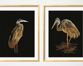 Great Blue Heron, Gold Black Wall Art, Faux Gold Foil, Chinoiserie, Water Birds, Tropical Wall Art, Blue Heron Print, Gold Black Prints