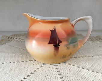 Nagoya, Meito China, vintage creamer, pitcher, hand painted, made in Japan, porcelain