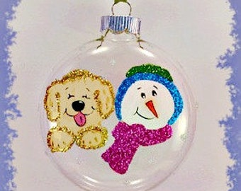 Handpainted Golden Retriever Dog, Snowman Christmas Glitter Glass  Ornament - Personalized Any Dog Breed -shipping pro rated in multiples