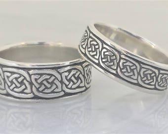 "Daonnan (Gaelic: ""Always/Continually"" sterling SILVER Celtic ring, Celtic band"