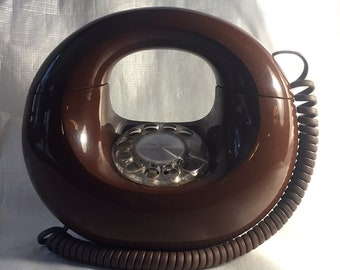 Western Electric Chocolate Brown Sculptura Donut Rotary Phone