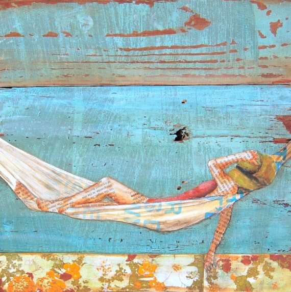 ART PRINT, beach art, relaxation, hammock, print, beach decor, wall art, wall print,painting,mixed media,coastal art, summer gift, All Sizes