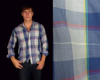 90s Blue Plaid Button Down Shirt Mens Medium, Rainbow Plaid, Mens Button Down, Plaid Shirt, Blue Plaid, Retro Plaid Shirt, 90s