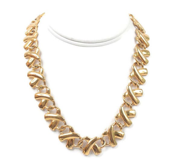 Anne Klein Designer Necklace Gold Tone X Links Bold Chunky 1980s Retro