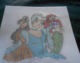 Ariel, Belle, Cinderella  Rhinestone Transfer