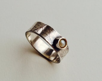 Silver and Vintage Pearl Manifesto Ring  by Cari-Jane Hakes, Hybrid Handmade