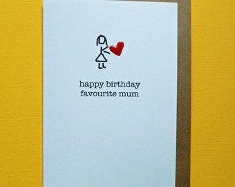 happy birthday favourite mum. Red enamel love heart, cute funny mum birthday card - Hand-enamelled art card.
