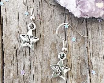 Star Earrings/ Star Face Earrings/ Star Man Earrings/ Celestial Charm/ Night Sky charm/ Face Star Charm/ Starry