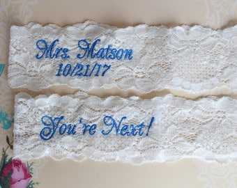 Wedding Garter Set, OFF WHITE, Personalized Bridal Garter,toss garter,You're Next Garter Belt, Embroidered, Custom Size Garter, Gift,GS20