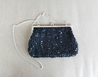 Black Bead and Sequin Evening Bag