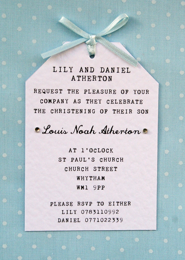 Boy Christening Naming Ceremony Invitation Elegant Simple