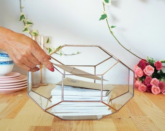 Large Geometric Glass Box, Wedding Card Box, Glass Card Box, Wedding Card Holder, Envelope Holder, Large Terrarium, Wedding Centerpiece