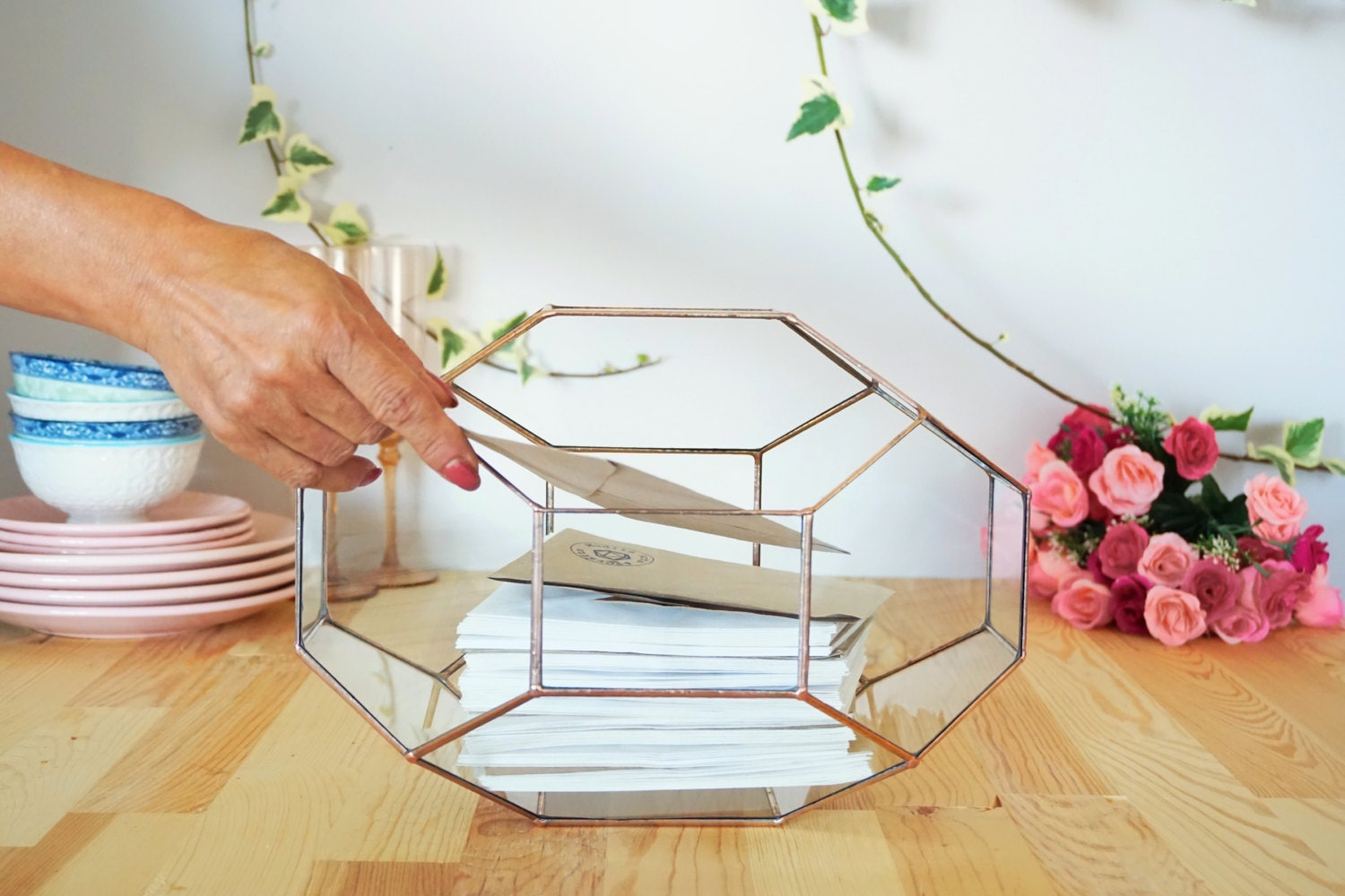 Large Geometric Glass Box Wedding Card Box Glass Card Box
