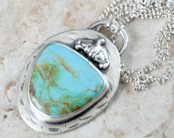 Turquoise Pendant in Handmade Sterling Silver Necklace