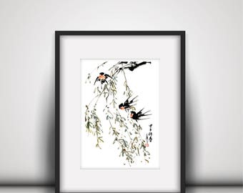 Watercolor Painting,Bird Watercolor Painting,Plant Painting,Wall Decor,Wall Art, Giclee Paper Print,Vertical Painting,Free Shipping