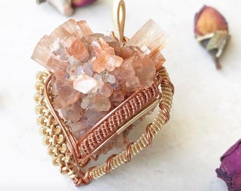 Aragonite Necklace, Gemstone Necklace, Crystal Necklace, Aragonite Star Cluster, Wire Wrapped Necklace, Wire Wrapped Crystal