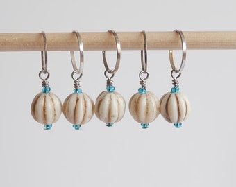 Stitch markers set of 5 white & turquoise