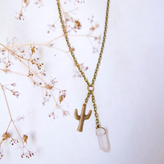 Cactus Quartz Necklace. Cactus necklace, raw quartz necklace.