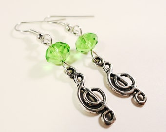 Music Note Earrings, Green Crystal Bead Earrings, Beaded Dangle Earrings, Musical Charm Earrings, Clef Note Earrings, Beadwork Jewelry
